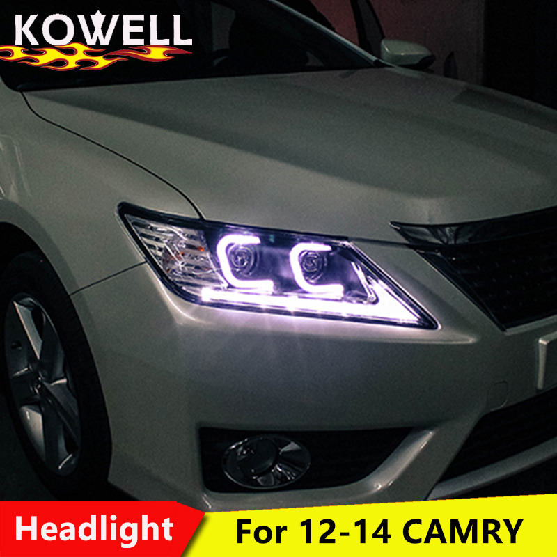 KOWELL Car Styling for Toyota Camry Headlights 2012 2014 Camry LED Headlight DRL Lens Double Beam