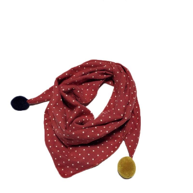 Весенние клетчатые треугольные шарфы в горошек для маленьких девочек; осенне-зимняя шаль для мальчиков и девочек; Детские хлопковые воротники; теплый детский шейный платок - Цвет: red dot