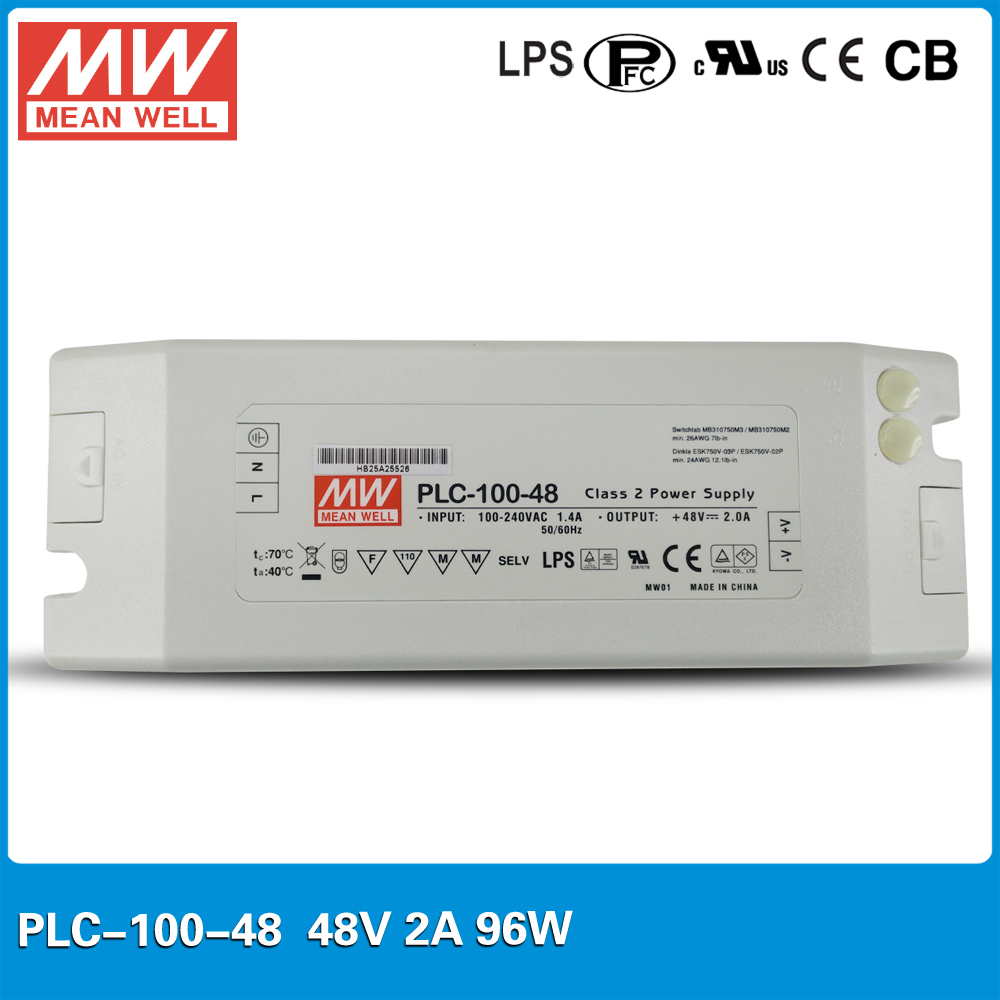 Original Meanwell 96W 2A 48V Power Supply PLC-100-48 LED Display Driver with PFC Function with screw terminal stype I/O цена 2017