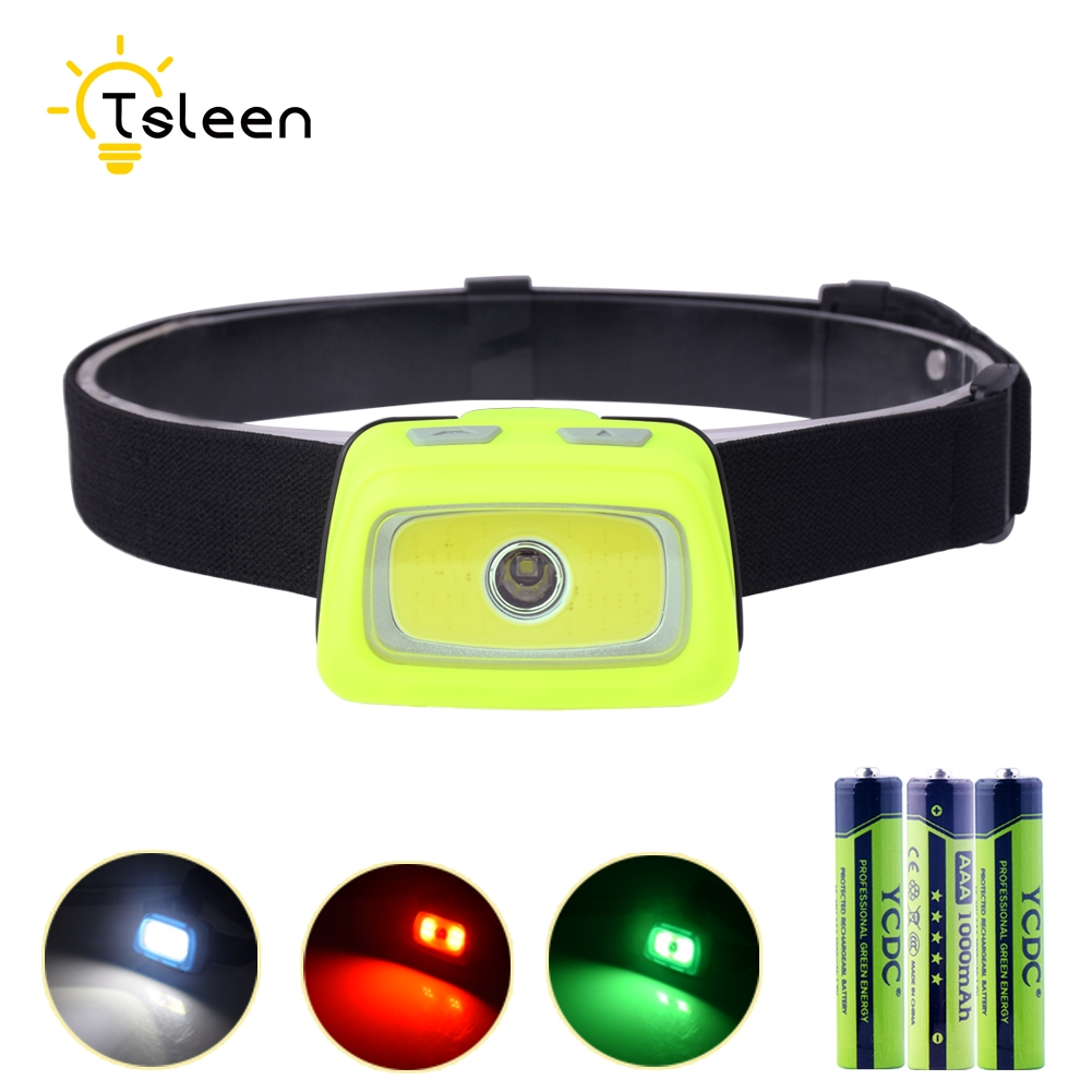 TSLEEN High Quality Mini Outdoor Headlamp Waterproof LED Headlight Flashlight 7 Modes+Red SOS Light Head Lamp Torch Light