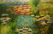 HandPainted Modern Impressionism Claude Monet Lily Pond Landscape Oil Canvas Painting Wall Art Picture Painting for Living Room