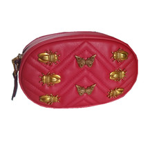 Luggage Bags - Waist Packs - Caker Brand Women Sequins Bee Butterfly Waist Bag With Belt Lady Embroidery V Diamond Lattice Heart-shape Red Crossbody Bag