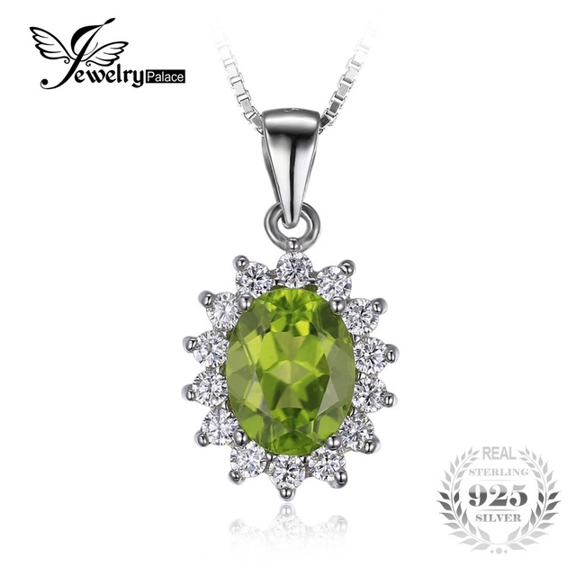 JewelryPalace Princess Diana William Kate 2.2ct Natural Peridot Solid 925 Sterling Silver Halo Penddant