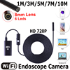 USB Endoscope With WIFI Box HD 720P Inspection Snake Camera 6LED 8mm Lens 2MP 1 3