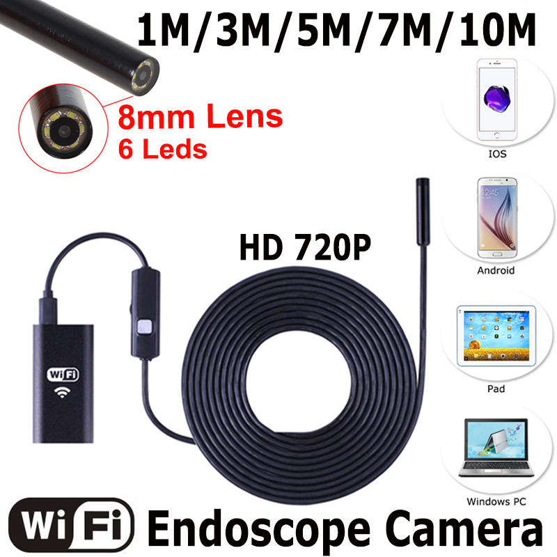 USB Endoscope With WIFI Box HD 720P Inspection Snake camera 6LED 8mm Lens 2MP 1/3/5/7/10M For Android iPhone Wireless Endoscope faux pearl bowknot elastic hair band set