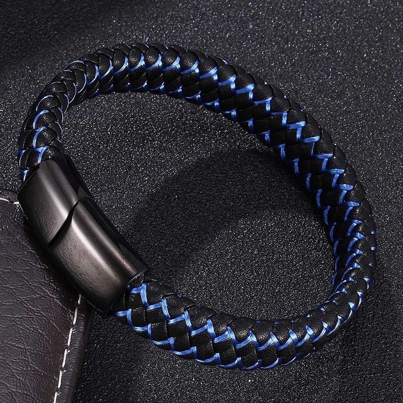 Bracelets for Men Black Blue Braided Leather Bracelet Bangles Stainless Steel Magnetic Clasps Male Wrist Band Jewelry Gifts 0002 in Charm Bracelets from Jewelry Accessories