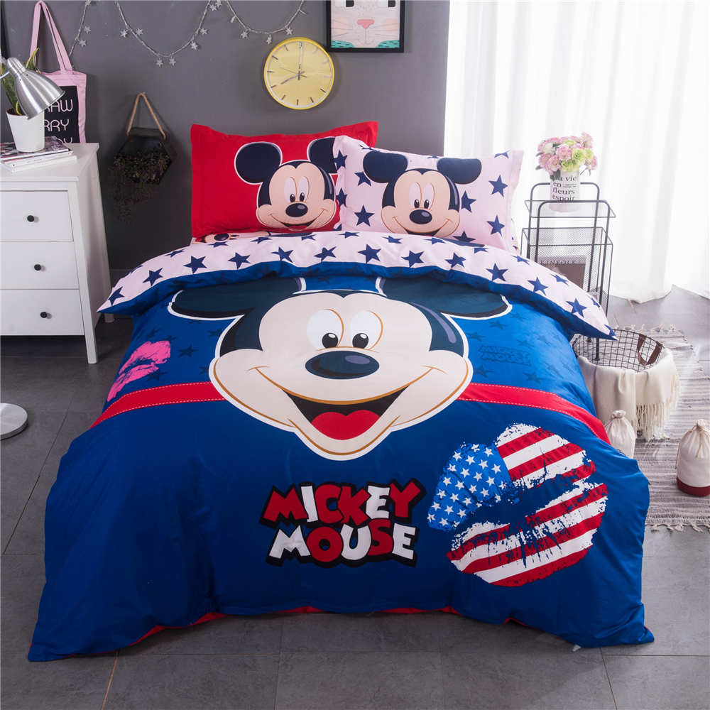 Baby bed quilt size - American Flag Mickey Mouse Printed Bedding Set Quilt Duvet Covers Bedspreads Children Baby Bed Twin