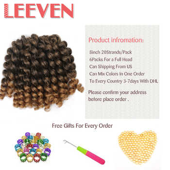Leeven 8\'\' 20strands Jumpy Wand Curl Jamaican Bounce Synthetic Braiding Hair Extension Crochet Braid HairFor Woman