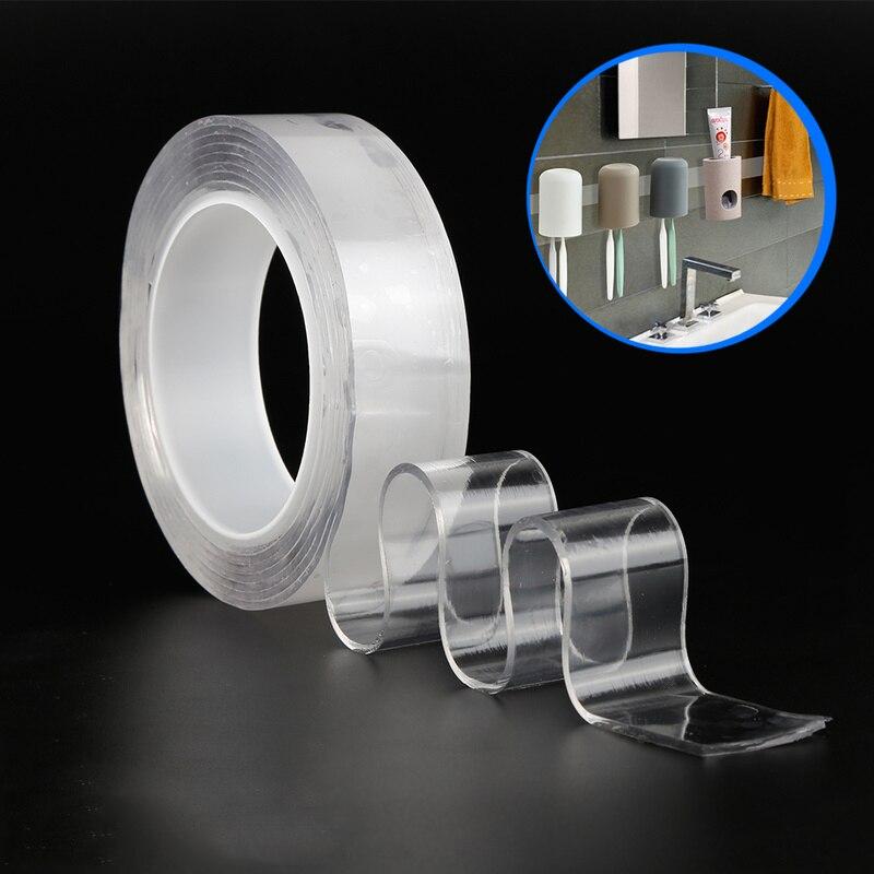 Multifuncional Fita Adesiva Dupla-Face Nano Traceless Adesivo Lavável Reutilizável Transparente Fitas Magia Organizador Casa