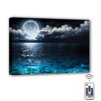 RGB Led Canvas Wall Decorative Full moon in cloud sea beach ocean Picture Canvas Print Illuminated painting light up gift decor