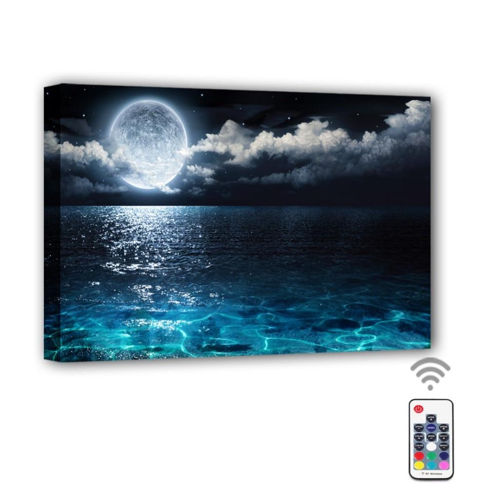Moon Cloud Ocean Framed Canvas Painting - Canvas Paintings Under $500