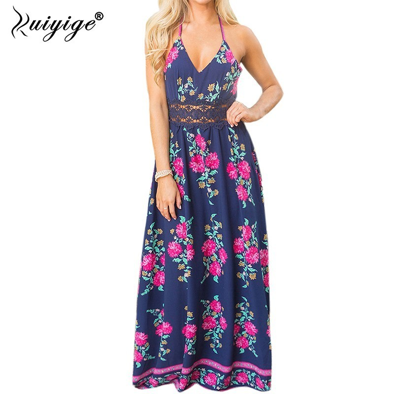 Ruiyige Sexy Women Boho Summer Dress 2018 Hollow Out Floral Print Chiffon Beach Long Sundress Halter Spaghetti Strap Maxi Robes