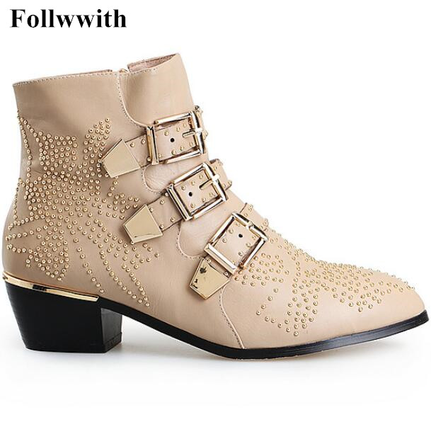 Big size 34-43 Casual Punk Rivets Ankle Boots Women Pointed toe Thick heels Buckle Metal Fashion Motorcycle boots Martin Botas beango fashion metal toe rivets women boots lace up round toe low heel motorcycle booties casual shoes woman big size 34 43eu