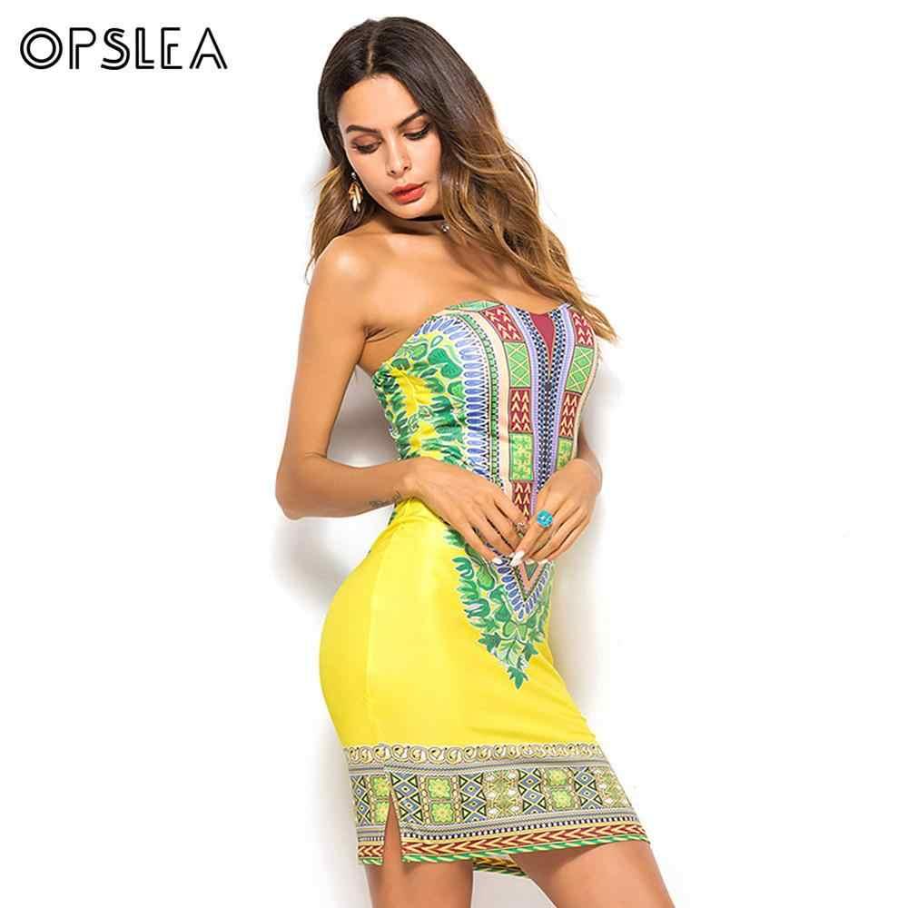 Opslea Африканский Племенной этнический платье с цифровым принтом для Женщин Дашики 2019 летнее сексуальное молочное шелковое платье-бандо с разрезом желтое боди