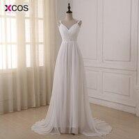 New Stock Vestido De Novia White Ivory Appliques Chiffon Beach Wedding Dress Bead Wedding Gown Robe