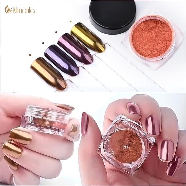 4 unids oro rosa espejo mágico uñas Brillos de uñas pigmento Polvos ...