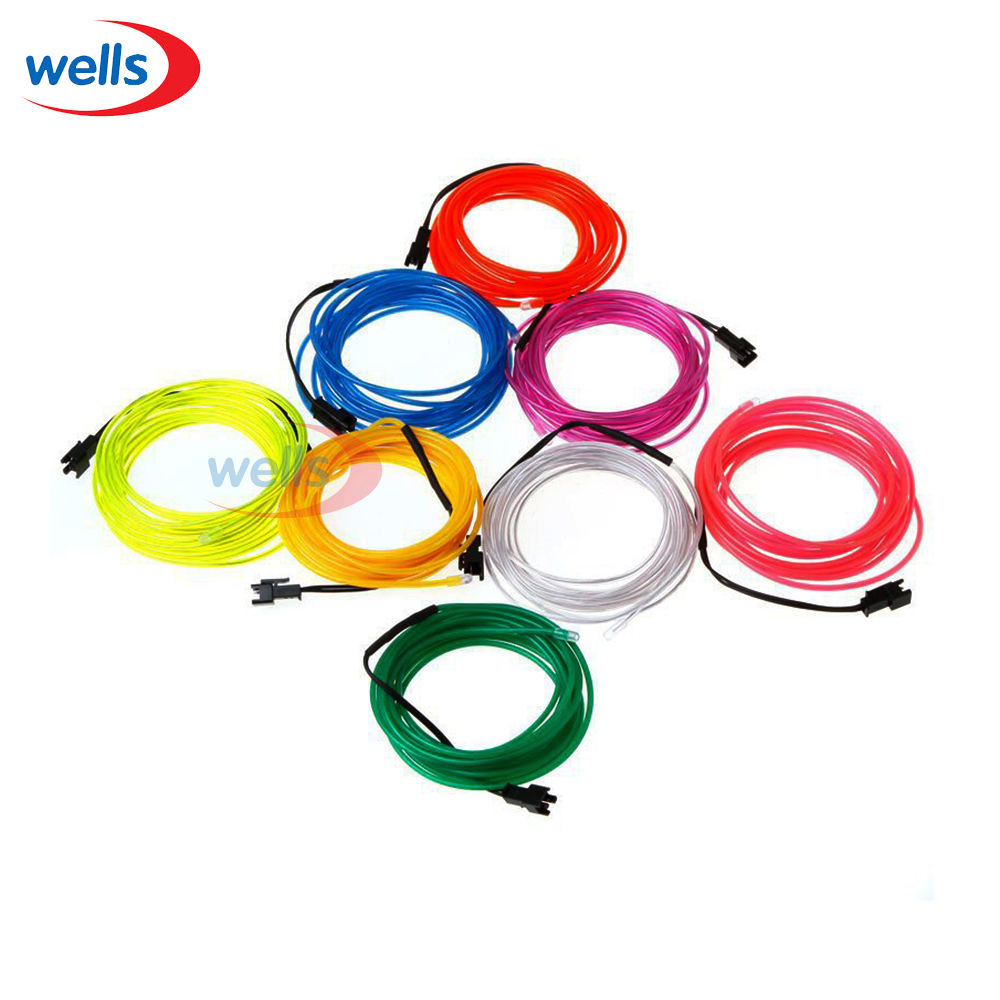 Free Shipping Lemon/Red/Yellow/Green/White/Blue/Purple/Pink 3M Flexible Neon Light EL Wi ...