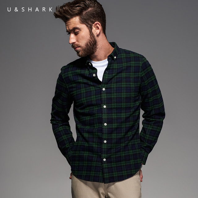 094b24a706 2016 England Style Long Sleeve Green Plaid Flannel Cotton Shirt Men Blouse  U Shark Fashion Designer Casual