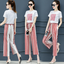 2019 Summer Two Piece Outfits Striped Tracksuits for Women Wide Loose Pants Suits and Top Sportswear Co-ord Set Elegant Clothing