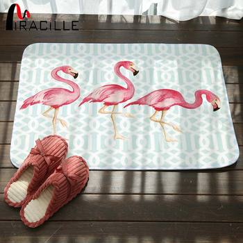 Miracille Coral Fleece Creative Pink Flamingo Pattern Home Decor Stair Outdoor Floor Mats Kitchen Carpets Bathroom Non Slip Rugs image