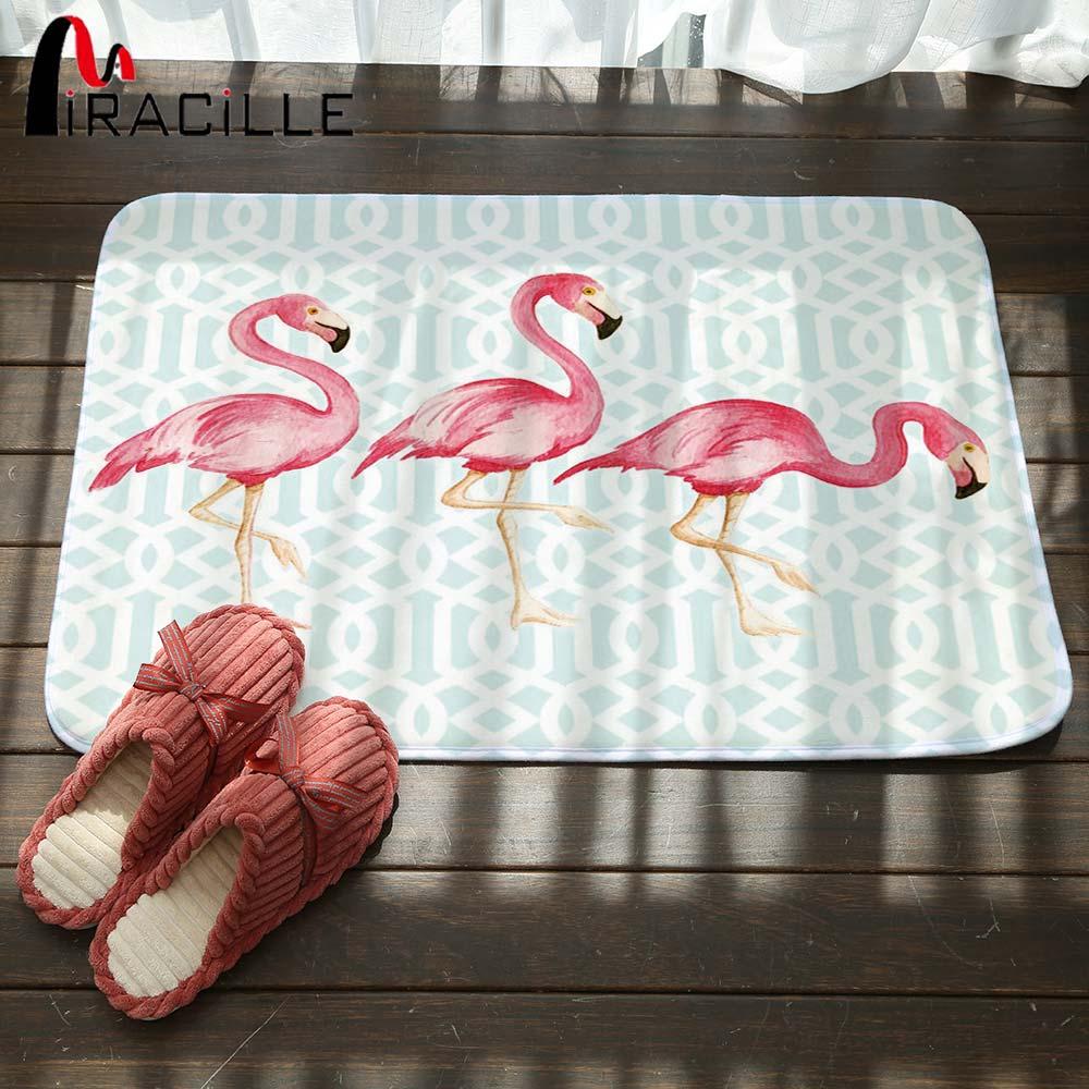 Miracille Coral Fleece Creative Pink Flamingo Pattern Home Decor Stair Outdoor Floor Mats Kitchen Carpets Bathroom Non Slip Rugs