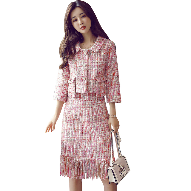 238aa411e9 2019 Autumn Tweed Skirt Suit Set Causal Women Two Piece Set Short  Jacket+Tassel Skirt 3/4 Sleeve Slim Pink Sets Woman Two Pieces