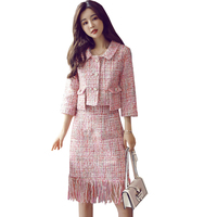 2019 Autumn Tweed Skirt Suit Set Causal Women Two Piece Set Short Jacket+Tassel Skirt 3/4 Sleeve Slim Pink Sets Woman Two Pieces