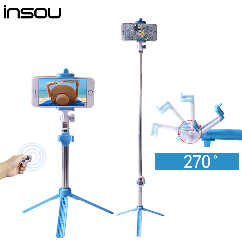 insou mini palo selfie bluetooth selfie stick tripod shutter wireless monopod for iphone 7 7. Black Bedroom Furniture Sets. Home Design Ideas