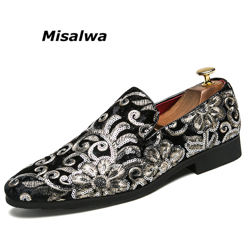 Misalwa Men's Vintage Floral Print Dress Loafers Embroidered Men Slip On Shoes Classic Tuxedo Smoking Slipper Shoes Freeshipping vintage floral print mini shift dress