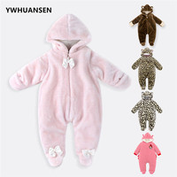 YWHUANSEN Winter Infants Princess Overall For Girls Coral Fleece Newborn Baby Boys Clothes 0 12 Months Body Clothing Footie 2018