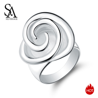 SA SILVERAGE 925 Sterling Silver Rose Wedding Rings for Women Fine Jewelry 925 Silver Big Flower Rings Band Rings Anel Anillos