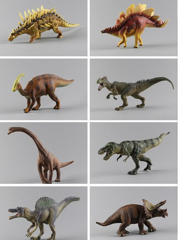 цена pvc figure Large plastic dinosaur toy model of Tyrannosaurus Allosaurus meandering dragon 8pcs/lot