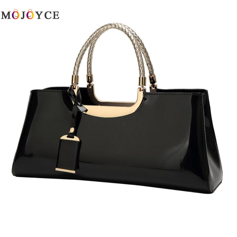 Luxury Brand Women Glossy Patent Leather Clutch Handbag Shoulder Top-handle Bag sac a main femme de marque luxe cuir 2018