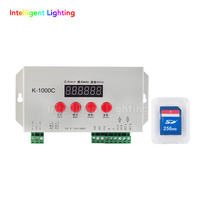 K-1000C for WS2801 WS2811 WS2812B LPD6803 APA102 led strip, 2048 Pixels DC5~24V, with SD Card, (is the T1000S Upgraded version) 2pcs t1000s sd card ws2801 apa102 ws2811 ws2812b lpd6803 led 2048 pixels controller dc5 24v t 1000s rgb controller