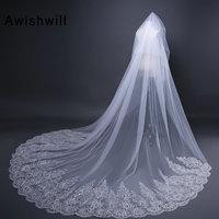 Bridal Velos De Novia 2019 Wedding Lace Veils Womens 3 Meters One Layers Applique Lace Bridal Wedding Veils With Comb