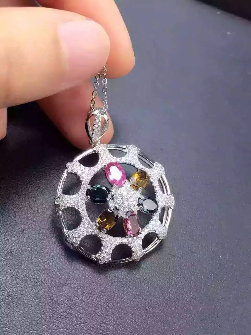 natural multicolor tourmaline pendant S925 silver Natural gemstone Pendant Necklace trendy Round star women wedding jewelry natural multicolor tourmaline pendant s925 silver natural gemstone pendant necklace trendy romantic peach heart women jewelry
