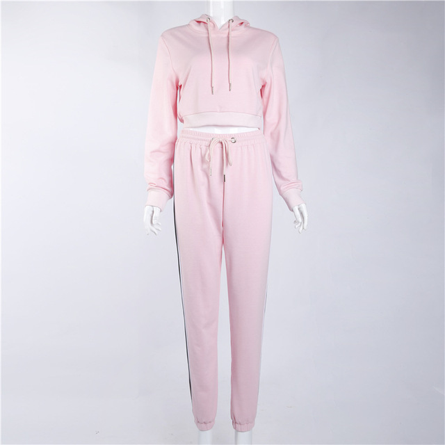 Women's Tracksuits 2 Piece Set Pink Crop Top And Pants Fashion 2020