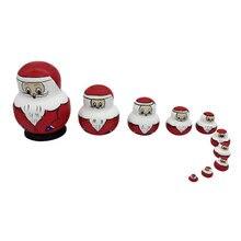 10pcs Russian doll Santa claus nesting game Matryoshka toy Child gift цена 2017