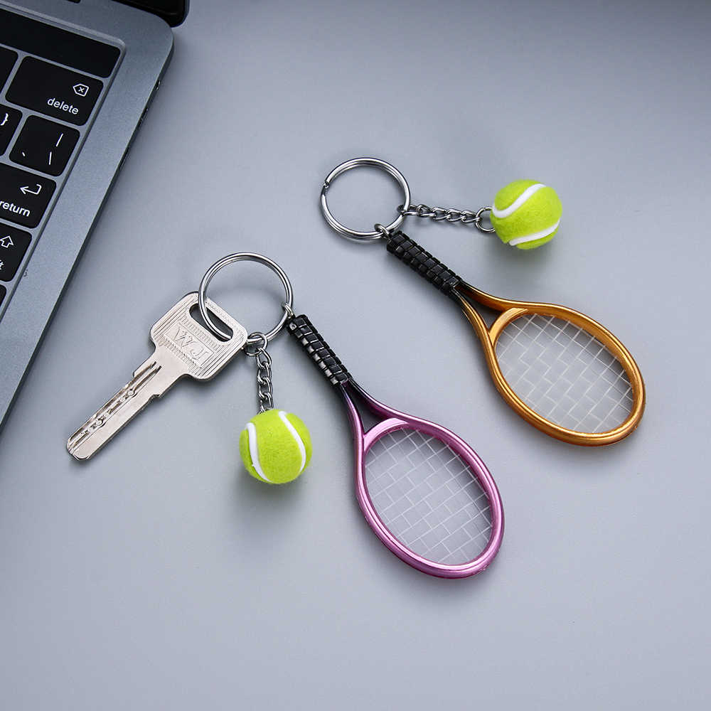Tennis Racket Keychain Cute Sport Mini Keychain Car 6 color Pendant Keyring Sports Key Chain Who love sports Gifts for Teenager