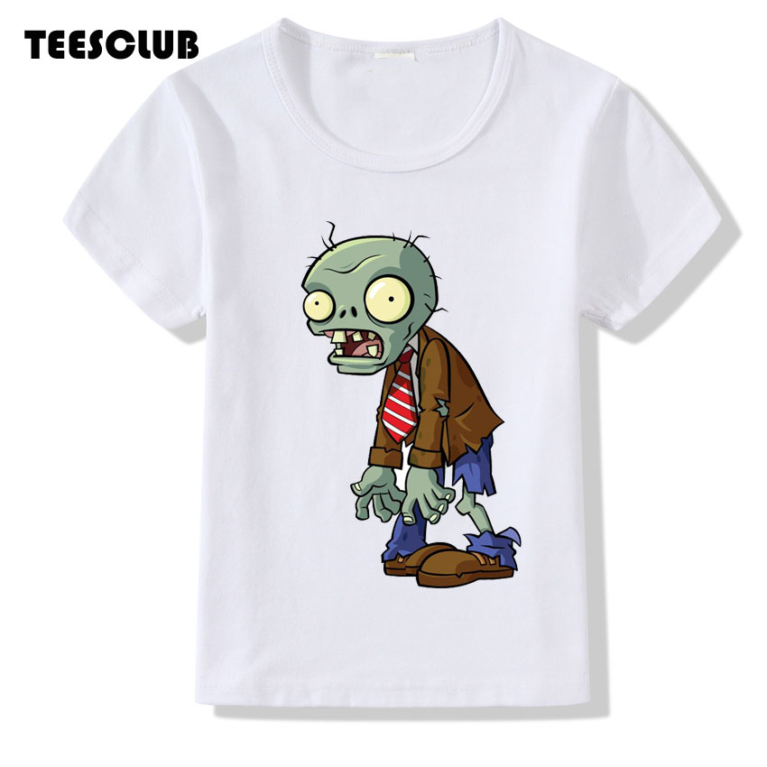 TEESCLUB Plus Size T-shirt Kid Game Plants Vs Zombies Print T shirt Boy Tops 2018 Short Sleeve Children Clothing 3T-9T trendy plus size women s v neck short sleeve self tie t shirt