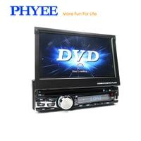 PHYEE Full Motorized Retractable Screen 7 Inch Car Radio DVD Player 1 Din Autoradio CD Bluetooth TV AM FM MP3 USB DX 8007BTV