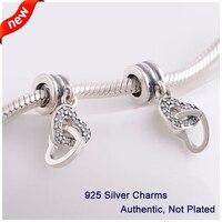 L342 nueva auténtica plata esterlina 925 Cuentas enclavamiento amor con claro CZ memoria Locket DIY Amuletos se adapta a Pandora pulseras