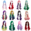 Promotion long wavy ombre color ladies synthetic hair wig,green rainbow color japanese kanekalon fibre anime cosplay wig peruca
