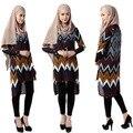 Fahion Mujeres de la Señora Impresión Suelta de Manga Larga Camisa de Vestir Camisa Islámico Árabe Musulmán Jilbab Corta