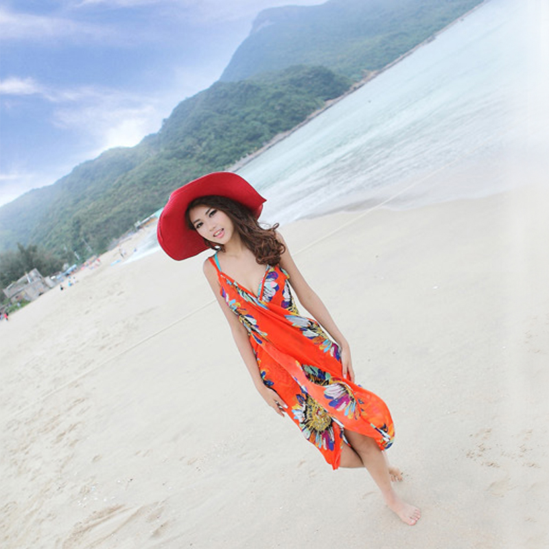 <font><b>Women's</b></font> <font><b>Dresses</b></font> <font><b>Women</b></font> New Printed Beach <font><b>Dress</b></font> <font><b>Sexy</b></font> Sling <font><b>Body</b></font> Bikini Cover-ups Wrap Open-Back Swimwear <font><b>Summer</b></font> Beaches Covers image