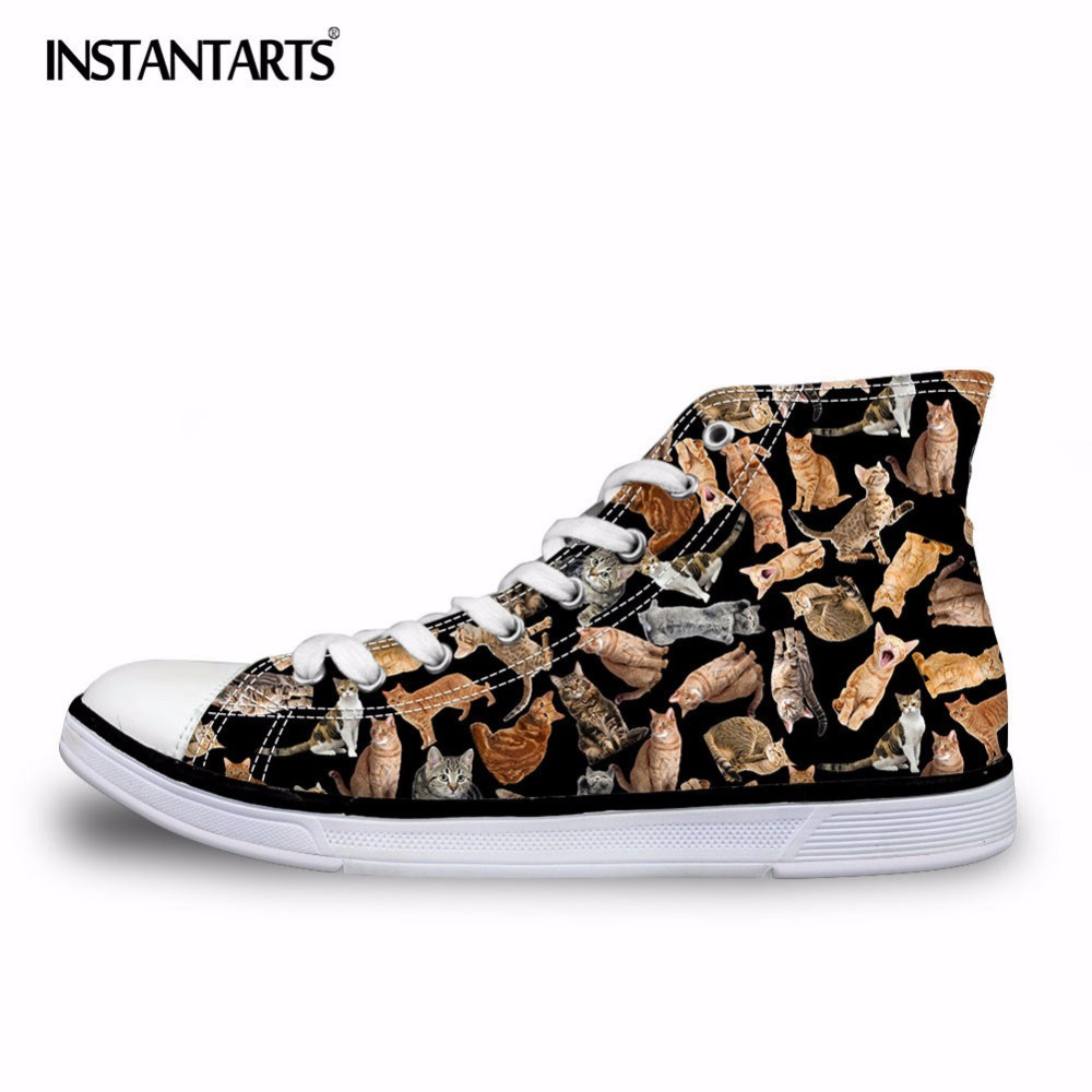 INSTANTARTS Klassiska män Kvinnor High Top Vulcanize Skor Fashion Animal Cat Dog Pussel Print Canvas Shoe Lacing Sneaker Shoes Boys