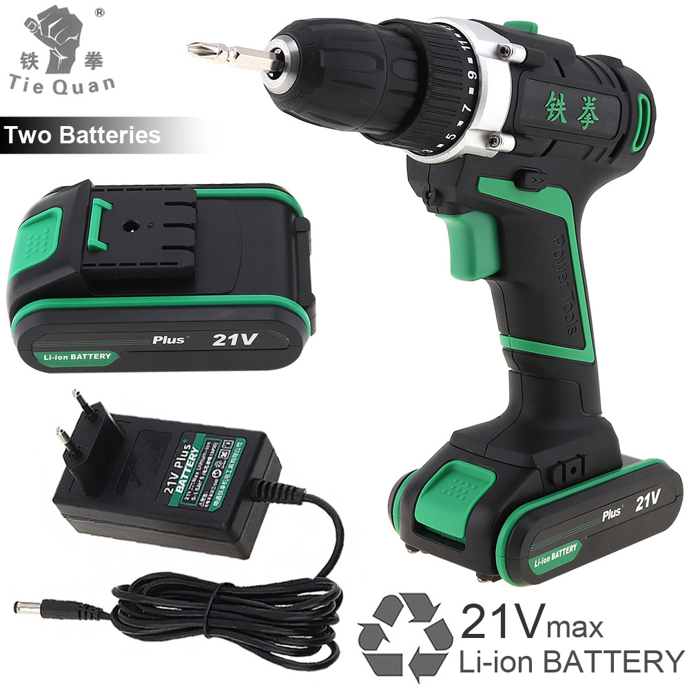 Cordless Rechargeable 21V Plus Electric Drill Screwdriver Power Tools with 2 Lithium Battery and Rotation Adjustment Switch