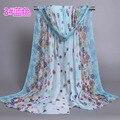 50*160 de largo moda imprimir pañuelo de gasa para las mujeres foulard Chales Y Hijabs de la bufanda de seda 2016 de la moda