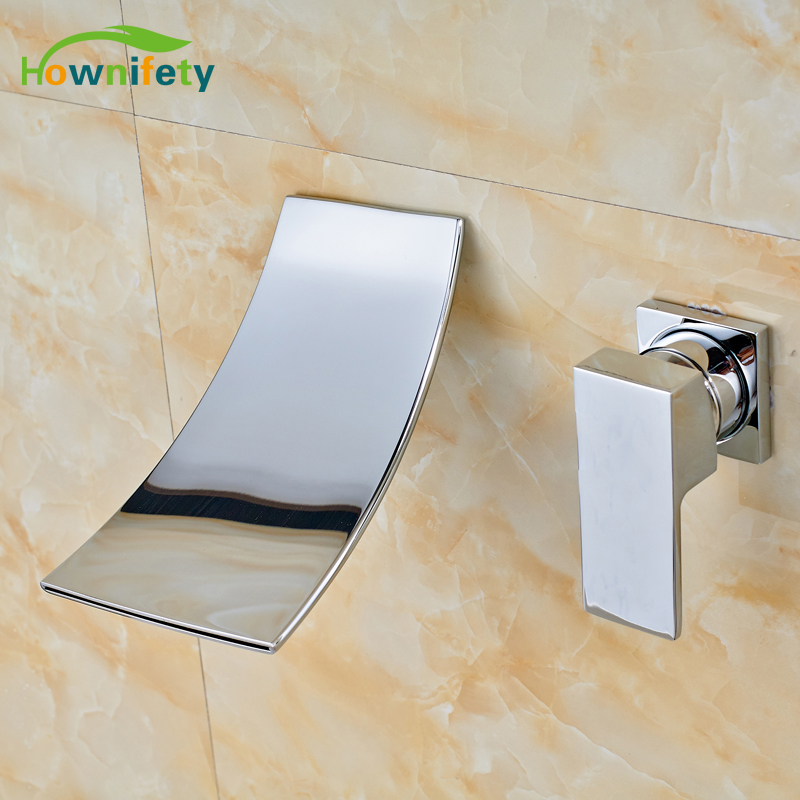 Solid Brass Bathroom Sink Faucet Single Handle Mixer Tap Double Holes Wall Mounted Chrome