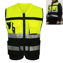 Профессиональный защитный светоотражающий жилет с карманами, дизайнерский светоотражающий жилет с высокой видимостью, ремни безопасности для езды на велосипеде на открытом воздухе на молнии